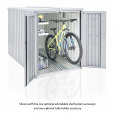 4 x 7 Biohort MiniGarage - Metallic Silver with doors open with bike on bike rack and shelving