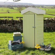 Thorndown Wood Paint 150ml - Rhyne Green - Lifestyle painted on storage shed