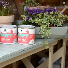 Thorndown Wood Paint 150ml - Goddess Green - Painted on planter, close up