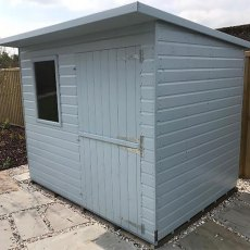 Thorndown Wood Paint 750ml- Greylake - Painted on wooden shed