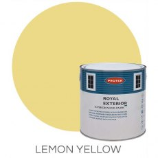 Protek Royal Exterior Paint 2.5 Litres - Lemon Yellow Colour Swatch with Pot