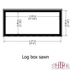 4 x 2 Shire Pressure Treated Log Box with Sawn Timber - footprint measurements
