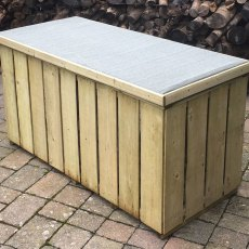 4 x 2 Shire Pressure Treated Log Box with Sawn Timber - alternate side angle, lid closed