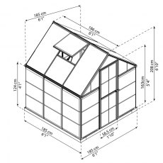 6 x 6 Palram Hybrid Greenhouse in Grey - dimensions