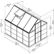 6 x 8 Palram Hybrid Greenhouse in Grey - dimensions