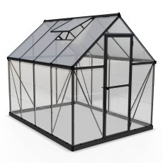 6 x 8 Palram Hybrid Greenhouse in Grey - isolated view