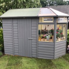 Thorndown Wood Paint - Dormouse Grey - Painted on a combi greenhouse