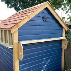 Thorndown Wood Paint - Bishop Blue - Painted on a garden wooden shed