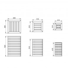 Forest Contemporary Slatted Planter - Set of three - Dimensions
