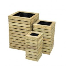 Forest Contemporary Slatted Planter - Set of three - isolated side view