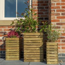 Forest Contemporary Slatted Planter - Set of three - In use front on