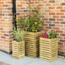 Forest Contemporary Slatted Planter - Set of three - In situ