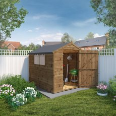 8 x 6 (2.40m x 1.84m) Mercia Overlap Apex Shed - Pressure Treated