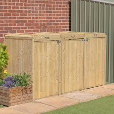 7x3 Mercia Bin Store - Triple -  Pressure Treated  - with background and doors closed