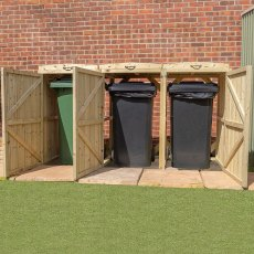7x3 Mercia Bin Store - Triple -  Pressure Treated - with background and all doors open displaying bi