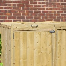 7x3 Mercia Bin Store - Triple -  Pressure Treated - with background and showing locking system
