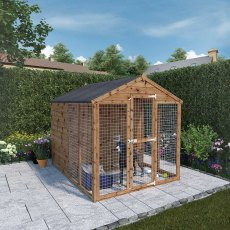 8x6 Mercia Staffordshire Dog Kennel & Run - Pressure Treated with background and door closed