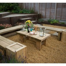 6ft Forest Double Sleeper Bench -  Pressure Treated - showing how to display 3 benches
