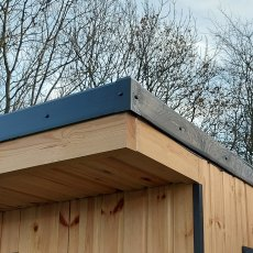 8x9 Forest Xtend 2.5+ Insulated Garden Office - close up of front roof overhang