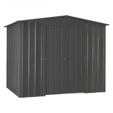 isolated image of the double doors closed on the 8x3 Lotus Metal Shed in Anthracite Grey