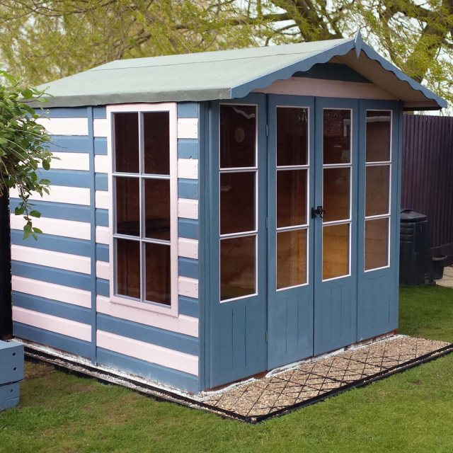 7 x 7 Shire Kensington Summerhouse - Painted in white and blue