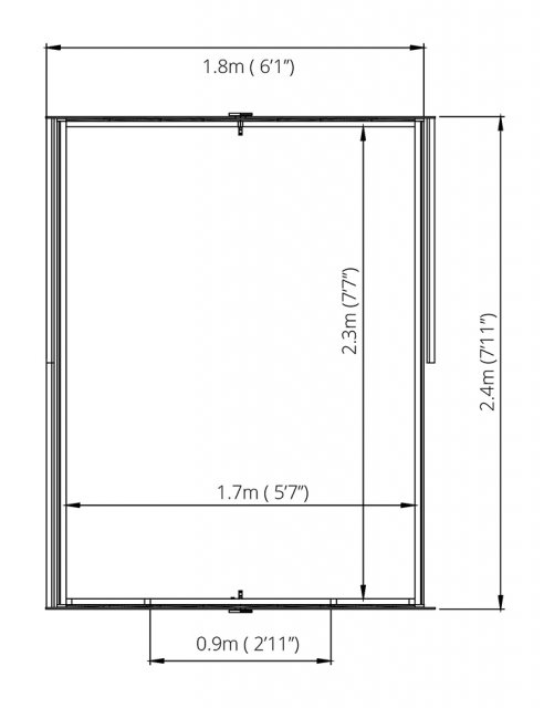 8 x 6 (2.37m x 1.78m) Mercia Overlap Shed - Floor Plan
