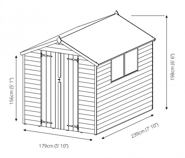 8 x 6 (2.37m x 1.78m) Mercia Overlap Shed - Diagram