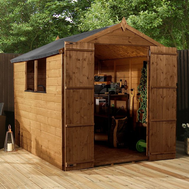 8x6 Mercia Shiplap Shed - Pressure Treated - with background and doors open