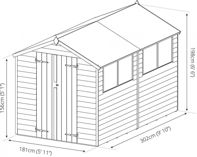 Mercia 10 x 6 (3.00m x 1.90m) Mercia Shiplap Shed with Double Doors - Pressure Treated