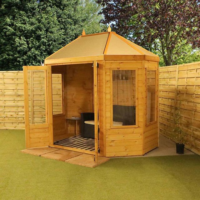 8x6 Mercia Octagonal Summerhouse - angled view