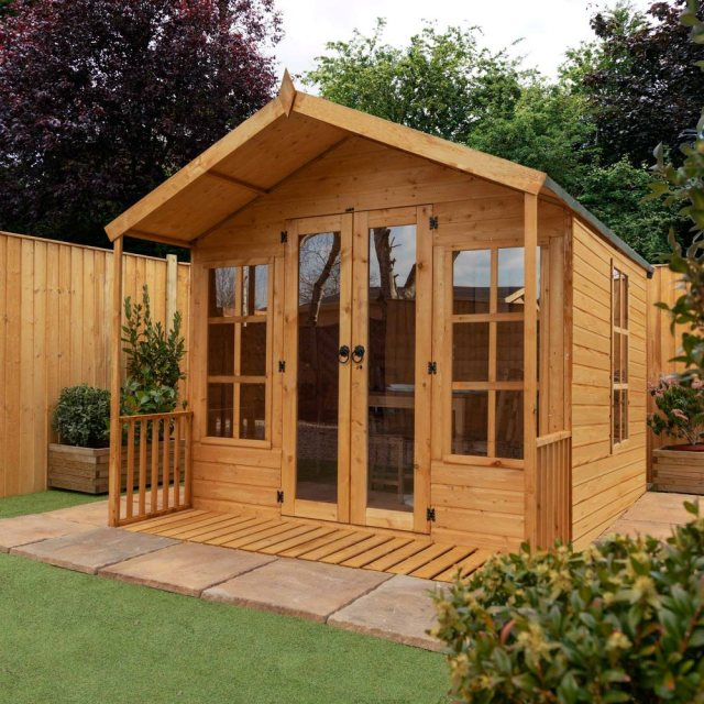 8 x 8 Mercia Premium Traditional T&G Summerhouse with Veranda - in situ
