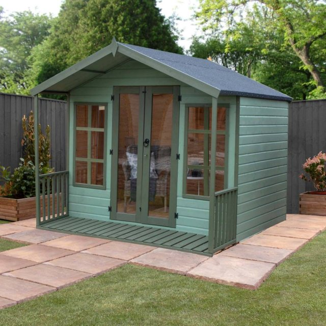8 x 8 Mercia Premium Traditional T&G Summerhouse with Veranda - painted, doors closed