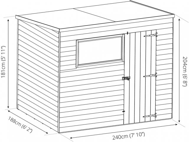 6x8 Mercia Shiplap Pent Shed - Pressure Treated - dimensions