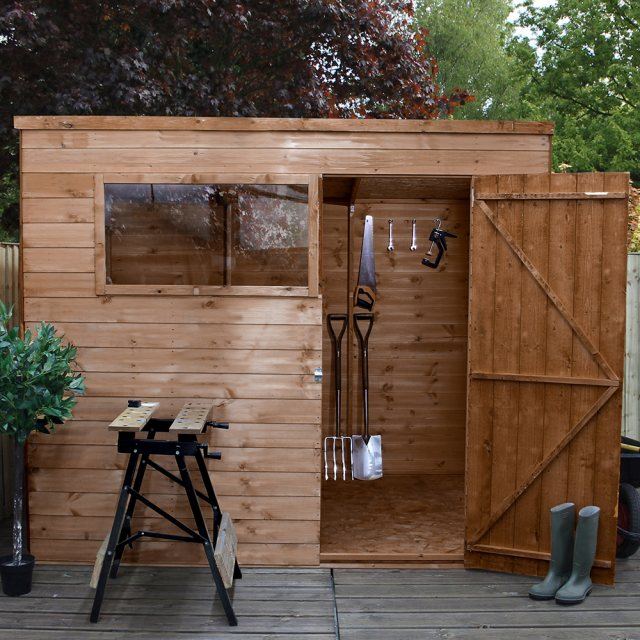 6x8 Mercia Shiplap Pent Shed - Pressure Treated - with background and door open front view
