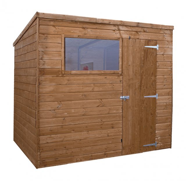 6x8 Mercia Shiplap Pent Shed - Pressure Treated - without background and door closed