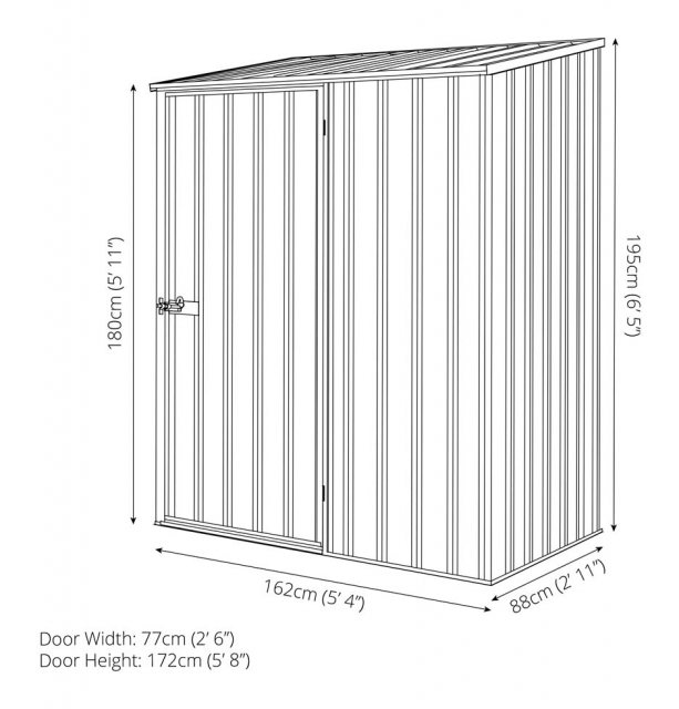 5 x 3 Mercia Absco Space Saver Pent Metal Shed - Dimensions