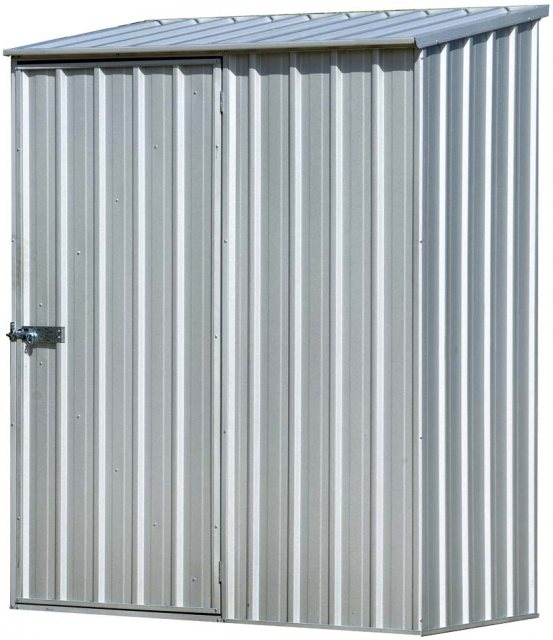 5 x 3 Mercia Absco Space Saver Pent Metal Shed in Titanium - isolated, door closed