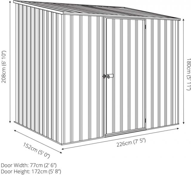 7 x 5 Mercia Abcso Space Saver Pent Metal Shed - Dimensions