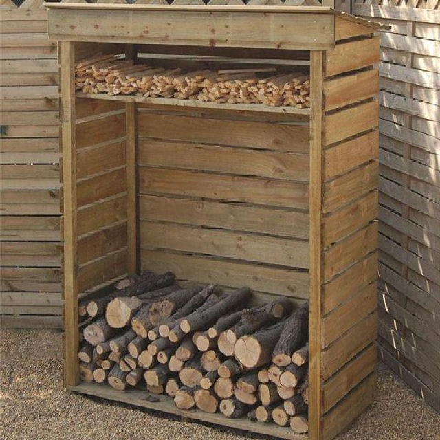 Rowlinson Garden Products 4 x 2 (1.17m x 0.56m) Rowlinson Log Store with Shelf