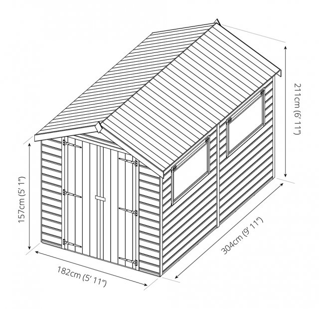 10 x 6 (3.12m x 1.96m) Mercia Premium Shiplap Shed with Double Doors - dimensions