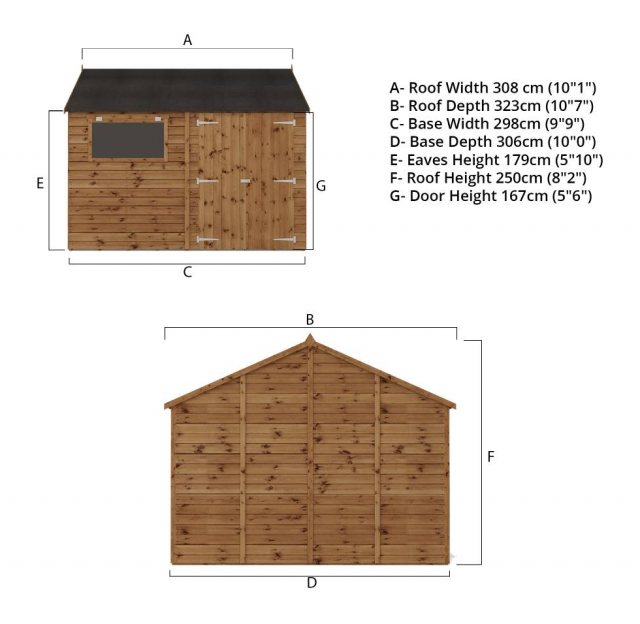 10x10 Mercia Premium Shiplap Workshop - Pressure Treated - without background and right angle