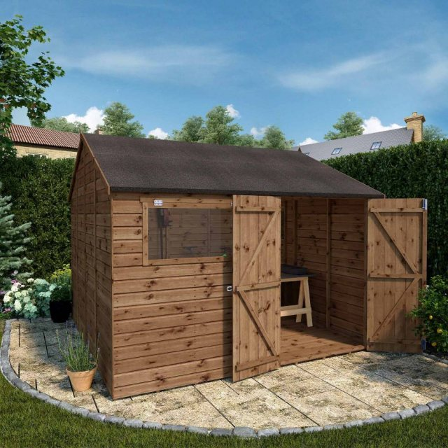 Mercia Premium Shiplap T&G Workshop - Pressure Treated - reverse apex layout with doors open