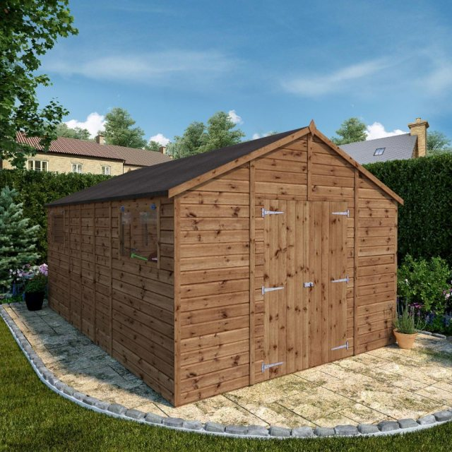 16x10  Mercia Premium Shiplap Workshop - Pressure Treated - with background and doors open