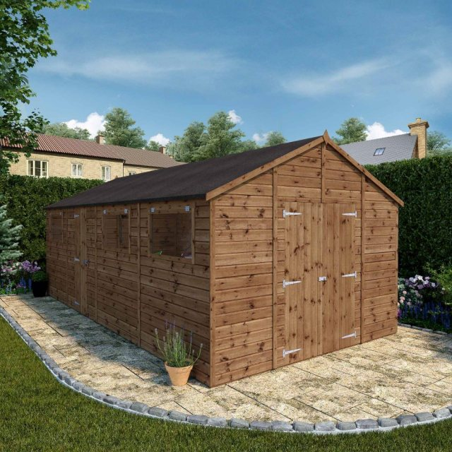 20x10 Mercia Premium Shiplap Workshop - Pressure Treated - with background and doors open angle