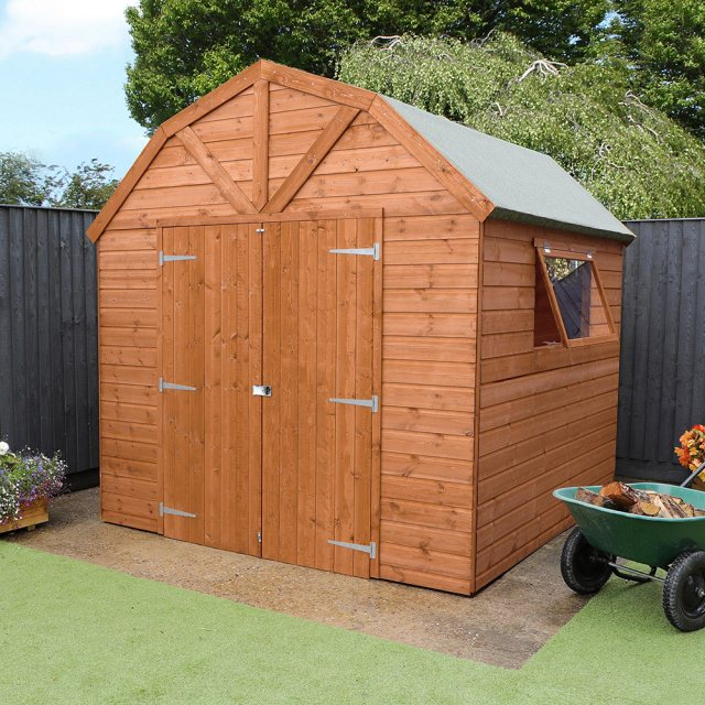 8 x 8 Mercia Dutch Barn Shed - Pressure Treated - with background and doors closed
