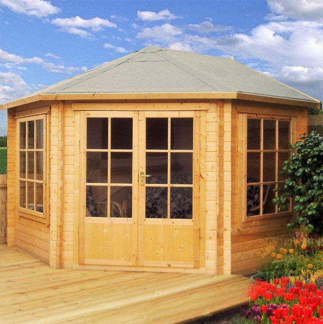 10 x 10 Shire Ardcastle Corner Log Cabin - Clear stain finish