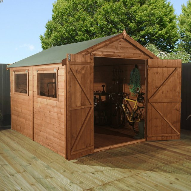 10x8 Mercia Premium Shiplap Shed with Double Doors - Pressure Treated - With background and doors op