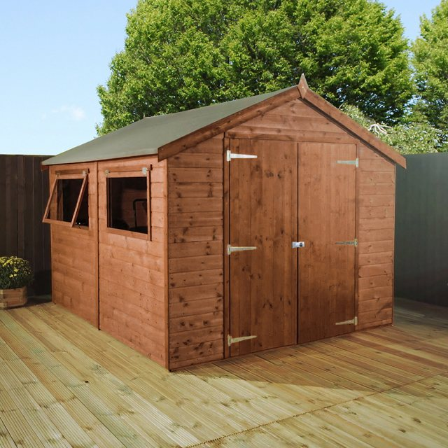 10x8 Mercia Premium Shiplap Shed with Double Doors - Pressure Treated - With background and doors cl