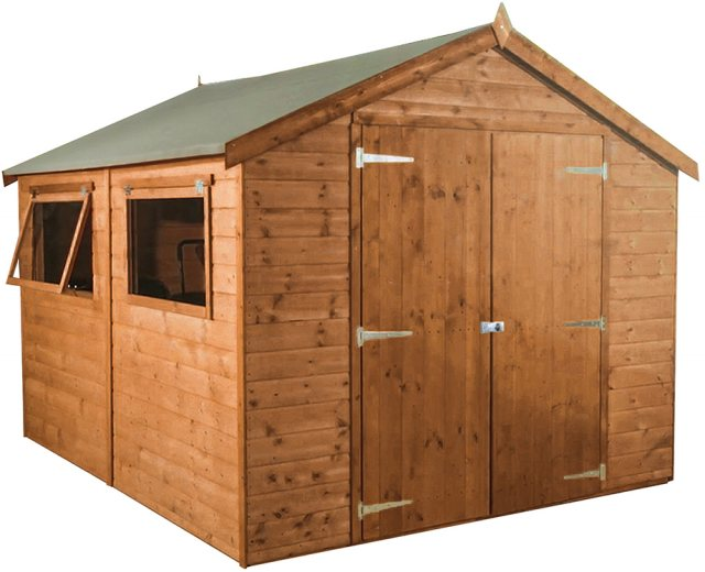 10x8 Mercia Premium Shiplap Shed with Double Doors - Pressure Treated - without background and doors