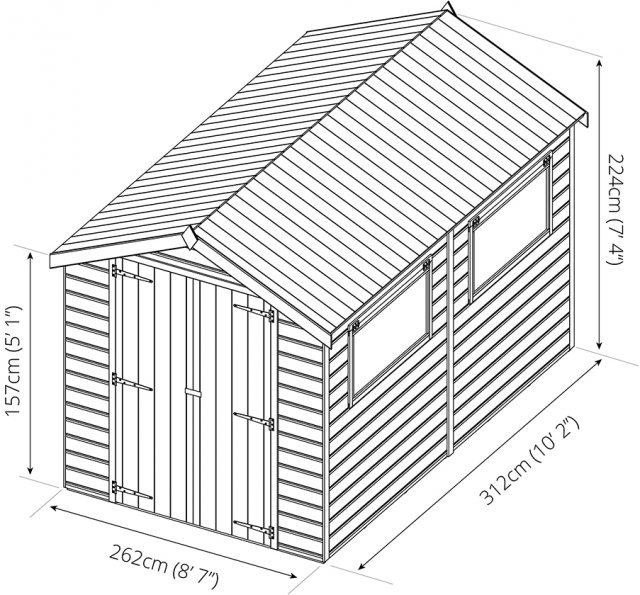 Mercia 10 x 8 (3.09m x 2.62m) Mercia Premium Shiplap Shed with Double Doors - Pressure Treated
